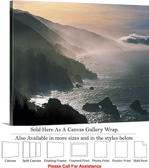 "Big Sur Coastline California Coastal Landscape Canvas Wrap 24"" x 19"""