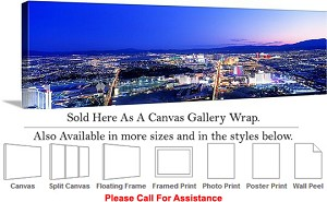 "Las Vegas The Strip American Landmark in Nevada-90 Canvas Wrap 48"" x 16"""