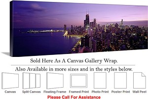 "Sears Tower American Landmark Chicago Illinois-21 Canvas Wrap 48"" x 16"""