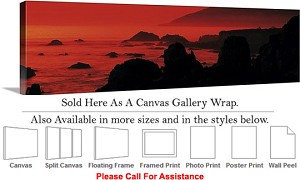 "Big Sur Dusk Headlands California Coast Landscape Canvas Wrap 48"" x 15"""