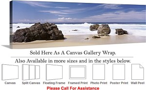 "Big Sur Rocky Beach California Coastal Landscape-2 Canvas Wrap 48"" x 16"""