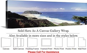 "Big Sur Ocean View California Coastal Landscape Canvas Wrap 48"" x 16"""