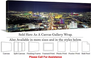 "Las Vegas The Strip American Landmark in Nevada-24 Canvas Wrap 48"" x 15"""