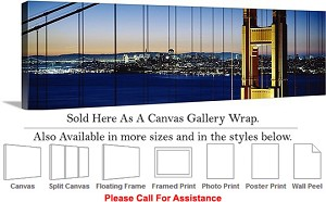 "Golden Gate Bridge at San Francisco California-71 Canvas Wrap 48"" x 16"""