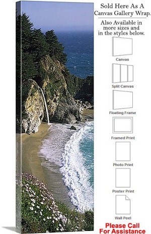 "Big Sur California McWay Cove Waterfall Landscape Canvas Wrap 16"" x 48"""