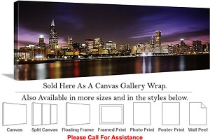 "Sears Tower American Landmark Chicago Illinois Canvas Wrap 48"" x 16"""
