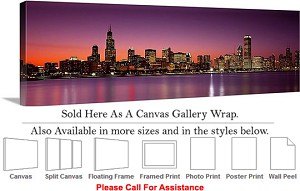 "Sears Tower American Landmark Chicago Illinois-5 Canvas Wrap 48"" x 15"""