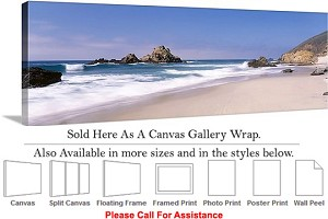 "Big Sur Pfeiffer Beach California Coast Landscape Canvas Wrap 48"" x 16"""