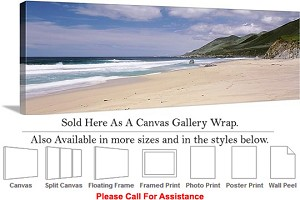 "Big Sur Surf Pfeiffer Beach California Landscape Canvas Wrap 48"" x 16"""
