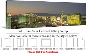 "Las Vegas The Strip American Landmark in Nevada-91 Canvas Wrap 48"" x 16"""