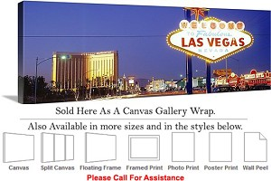 "Las Vegas The Strip American Landmark in Nevada-22 Canvas Wrap 48"" x 16"""