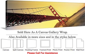 "Golden Gate Bridge View San Francisco California-9 Canvas Wrap 48"" x 15"""