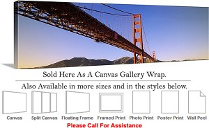 "Golden Gate Bridge at San Francisco California-127 Canvas Wrap 48"" x 15"""