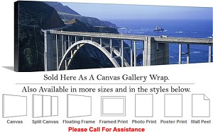"Big Sur Bixby Bridge California Coast Landscape-16 Canvas Wrap 48"" x 16"""