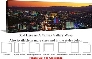 "Las Vegas The Strip American Landmark in Nevada-15 Canvas Wrap 48"" x 15"""