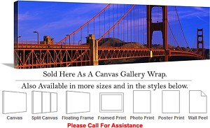 "Golden Gate Bridge at San Francisco California-125 Canvas Wrap 48"" x 16"""