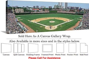 "Wrigley Field American Landmark Chicago Illinois Canvas Wrap 48"" x 15"""