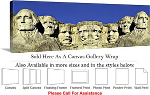 "Mount Rushmore American Landmark South Dakota-14 Canvas Wrap 48"" x 16"""