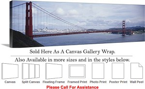 "Golden Gate Bridge at San Francisco California-149 Canvas Wrap 48"" x 16"""