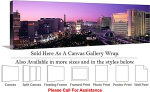 "Las Vegas The Strip an American Landmark Nevada-9 Canvas Wrap 48"" x 16"""