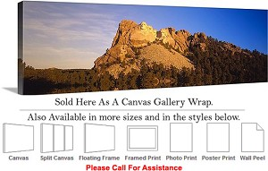 "Mount Rushmore American Landmark South Dakota-3 Canvas Wrap 48"" x 15"""