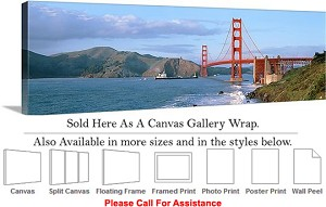 "Golden Gate Bridge at San Francisco California-20 Canvas Wrap 48"" x 15"""