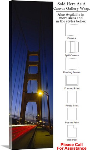 "Golden Gate Bridge at San Francisco California-166 Canvas Wrap 16"" x 48"""