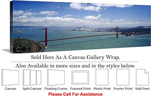 "Golden Gate Bridge at San Francisco California-9 Canvas Wrap 48"" x 15"""