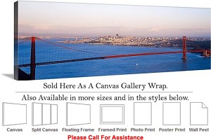 "Golden Gate Bridge at San Francisco California-69 Canvas Wrap 48"" x 16"""