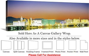 "Las Vegas The Strip American Landmark in Nevada-25 Canvas Wrap 48"" x 15"""