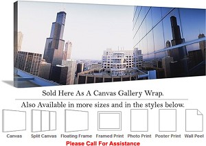 "Sears Tower American Landmark Chicago Illinois-62 Canvas Wrap 48"" x 19"""