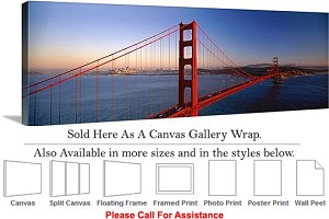 "Golden Gate Bridge View San Francisco California-6 Canvas Wrap 48"" x 16"""
