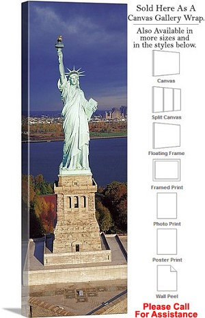 "Statue of Liberty an American Landmark New York-9 Canvas Wrap 16"" x 48"""
