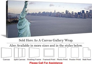 "Statue of Liberty an American Landmark New York-5 Canvas Wrap 48"" x 17"""