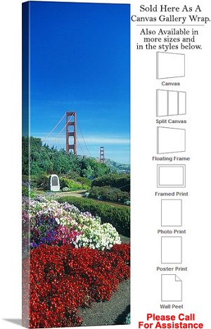 "Golden Gate Bridge at San Francisco California-109 Canvas Wrap 17"" x 48"""