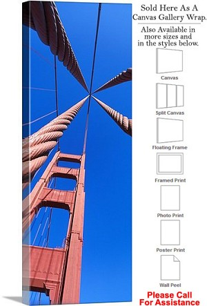 "Golden Gate Bridge at San Francisco California-61 Canvas Wrap 17"" x 48"""