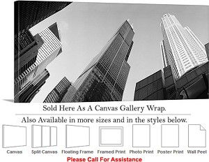 "Sears Tower American Landmark Chicago Illinois-19 Canvas Wrap 36"" x 16"""