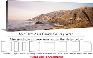 "Big Sur Rocky Beach California Coast Landscape-10 Canvas Wrap 48"" x 16"""