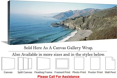 "Big Sur Monterey Beach California Coast Landscape Canvas Wrap 48"" x 16"""