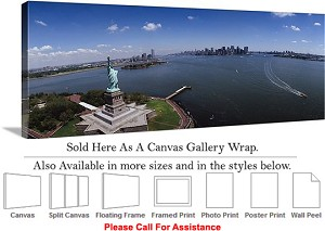 "Statue of Liberty an American Landmark New York-21 Canvas Wrap 48"" x 19"""