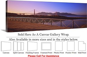 "Golden Gate Bridge at San Francisco California-117 Canvas Wrap 48"" x 17"""