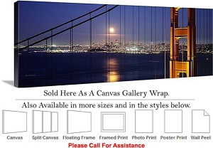 "Golden Gate Bridge at San Francisco California-11 Canvas Wrap 48"" x 17"""