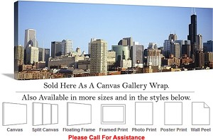 "Sears Tower American Landmark Chicago Illinois-64 Canvas Wrap 48"" x 17"""