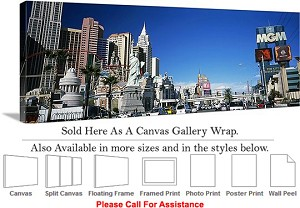 "Las Vegas The Strip American Landmark in Nevada-32 Canvas Wrap 48"" x 17"""