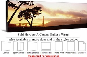 "Golden Gate Bridge at San Francisco California-105 Canvas Wrap 48"" x 17"""