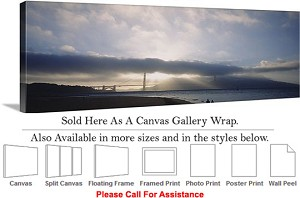 "Golden Gate Bridge at San Francisco California-141 Canvas Wrap 48"" x 17"""