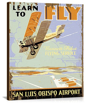 Learn to Fly Vintage Printed On Canvas