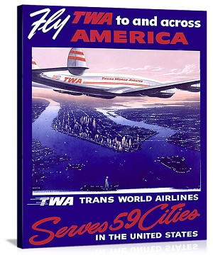 Fly Air America Constellation Vintage Printed On Canvas