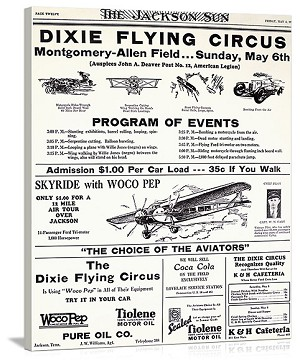 Dixie Flying Circus Program Vintage Printed On Canvas