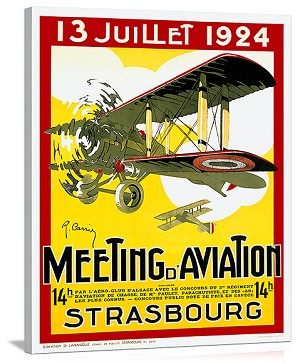 Strasborg Aviation Exposition Vintage Printed On Canvas